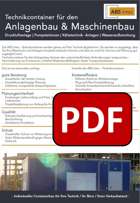 ABS intec - Technikcontainer Aggregatcontainer PDF Download - Industrieanlagencontainer