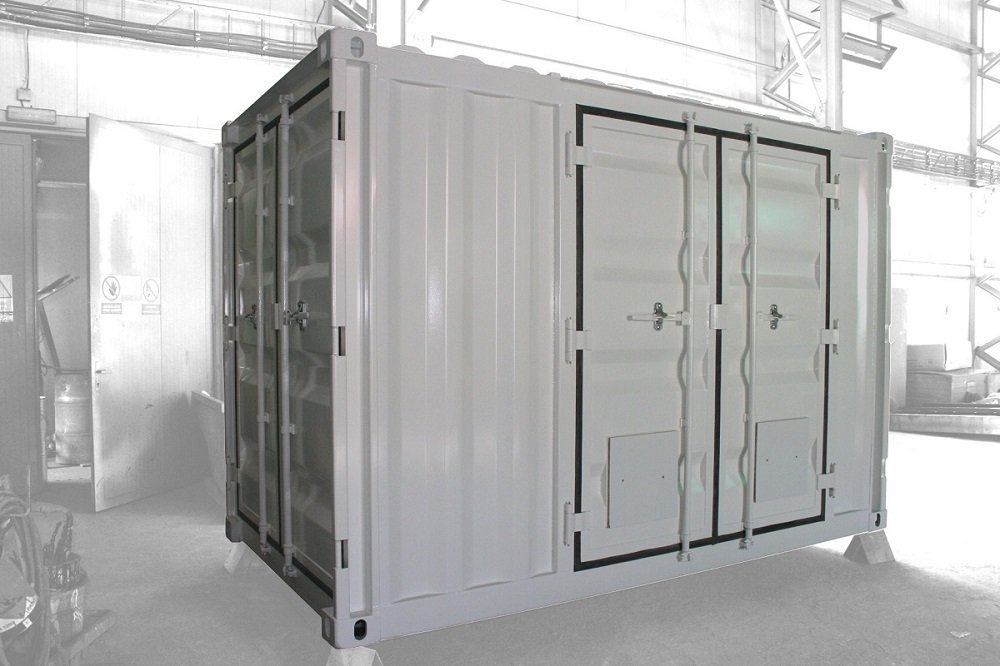 ABS intec - Technikcontainer Industriecontainer seitliche Doppeltür Verriegelungsstange - Energiecontainer